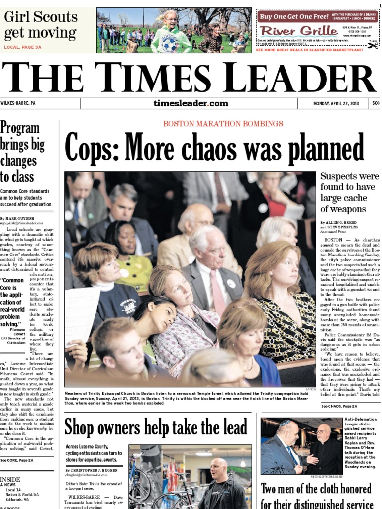 Times Leader 04-22-2013 | Common Core State Standards Initiative | Dzhokhar  Tsarnaev