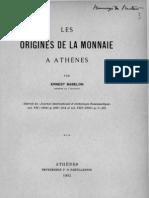 Les origines de la monnaie à Athènes / par Ernest Babelon
