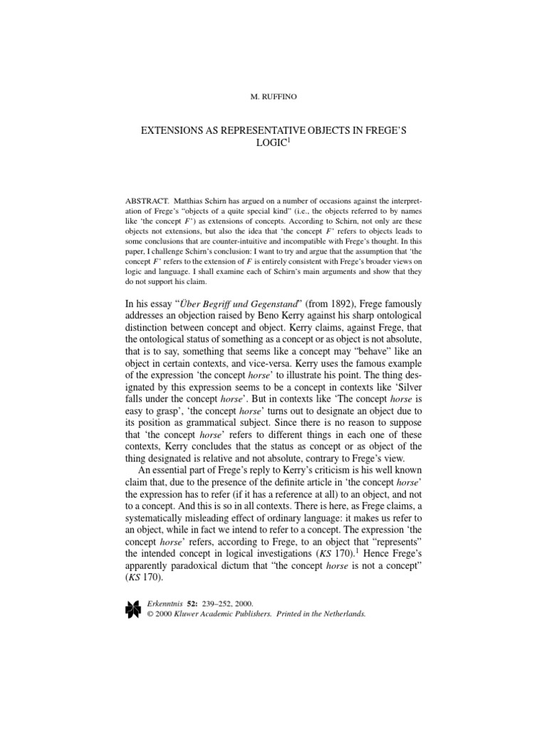 Extensions As Representative Objects In Frege˜s Logic