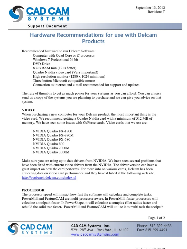 Hardware Recommendations for Use With Delcam | 64 Bit