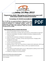 Supervisory Skills- Managing and Supervising Your Staff. 14 May