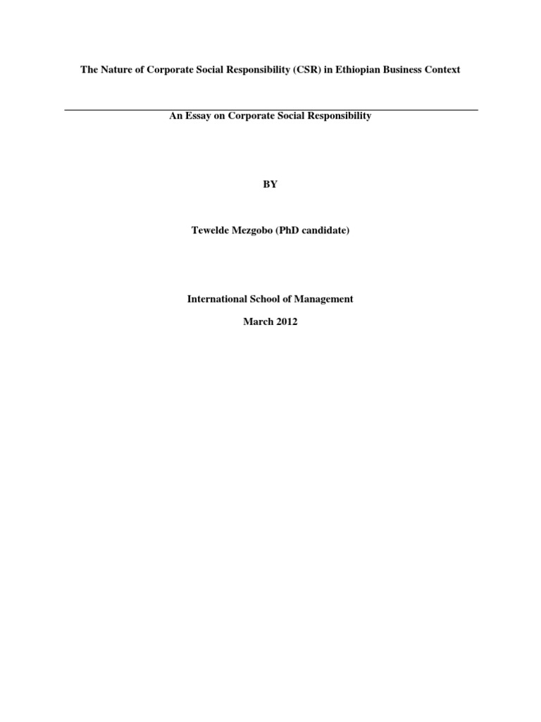 the nature of corporate social responsibility csr in n  the nature of corporate social responsibility csr in n business context corporate social responsibility