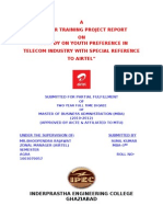 A STUDY ON YOUTH PREFERENCE IN TELECOM INDUSTRY WITH SPECIAL REFERENCE TO AIRTEL_NEW_2011