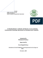 Evaluating Business continuity and Disaster recovery planning