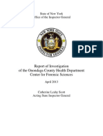 Inspector General's Report on the Onondaga County Crime Lab