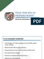 Mayor's FY 2013-2014 Budget Presentation