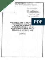 Reglamento para Establecer los Parámetros de Cooperación Interagencial para la Implementación de la Ley de Incentivos