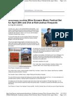 Southeast Arizona Wine Growers Music Festival Set for April 20th and 21st at Kief-Joshua Vineyards