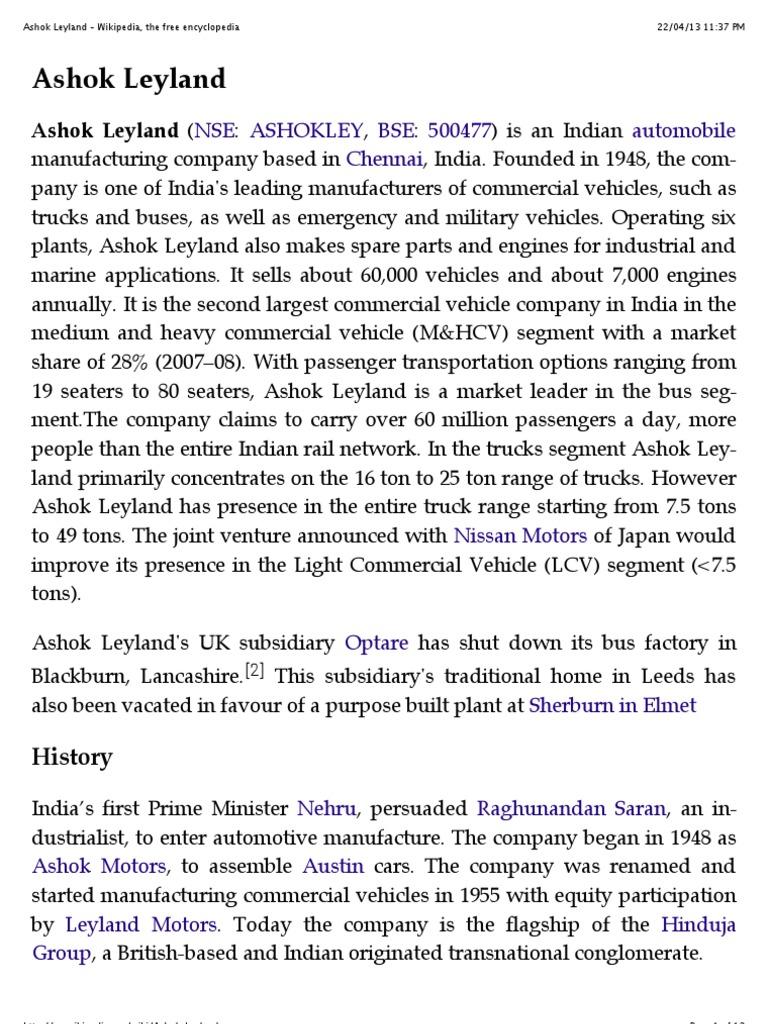 Ashok Leyland Vehicles Road Transport