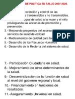 Lineamiento de Politica en Salud 2007-2020