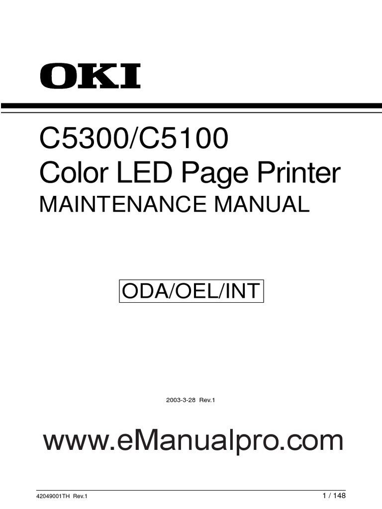 Oki C5300 C5100 Maintenance Manualfull Permission Printer Ic 4060 Datasheet Computing Electrical Connector