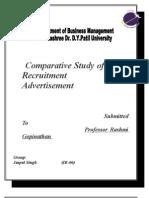 Comparitive Study of Recruitment Ads