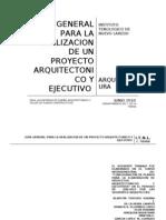 GUÍA GENERAL PARA LA REALIZACION DE UN PROYECTO  ARQUITECTONICO Y EJECUTIVO