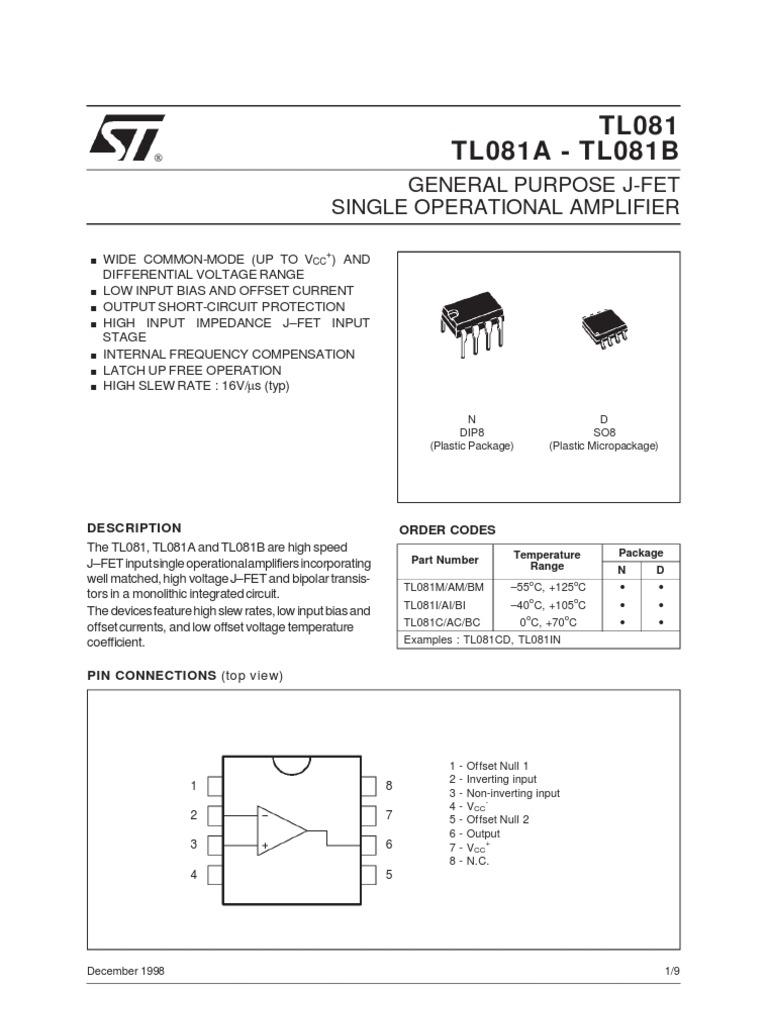 Tl081 Datasheet Download