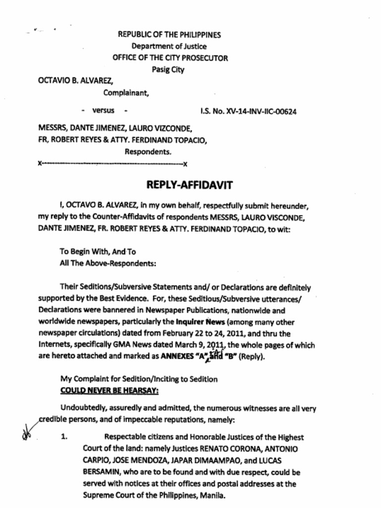 Reply to Counter Affidavit – How to Write a Legal Affidavit