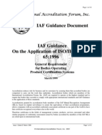 IAF Guidance Document Application of ISO IEC Guide 65 - 1996