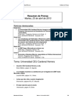 Resumen Prensa CEU-UCH 23-04-2013