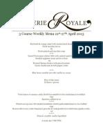Weekly Menu  Brasserie Restaurant 21-27 April 2013