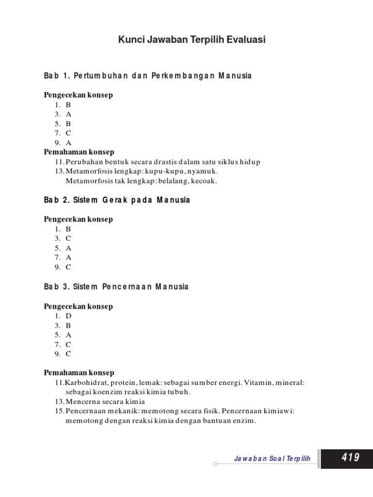 16 Ipa Kls 8 Kunci Jawaban Evaluasi