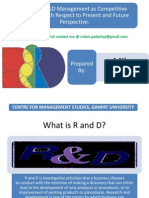 Strategic R&D Management as Competitive Strength With Respect to Present and Future Perspective.
