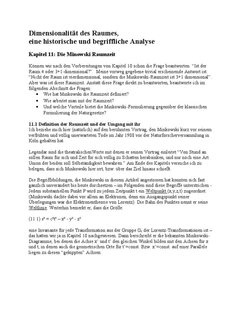 Kapitel 11 Die Minkowski Raumzeit