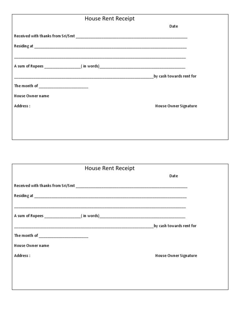 House Rent Receiptdocx – Rent Receipt Template India