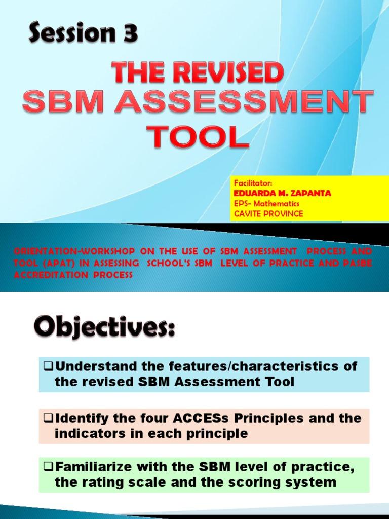 Ppt, Sbm Assessment Tool | Educational Assessment | Facilitator