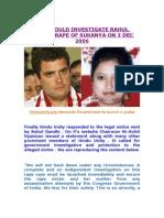 Cbi Should Investigate Rahul Gandhi Rape of Sukanya on 3 Dec 2006