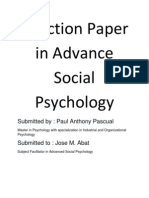 Reaction Paper in Advance Social Psychology