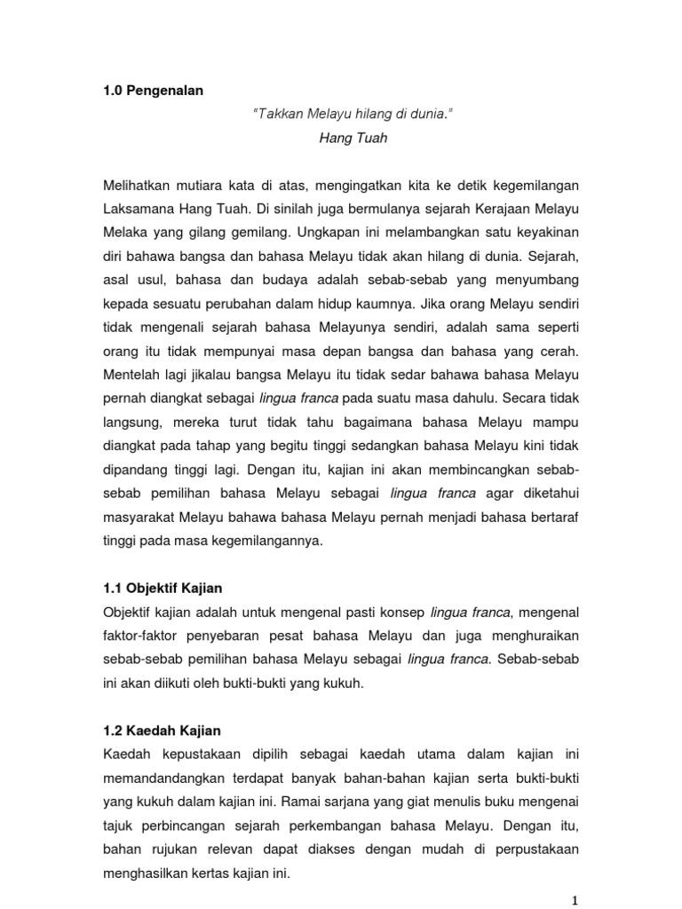 Esei Sejarah Perkembangan Lingua Franca 2013