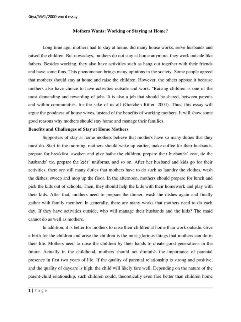 Helping mother at home essay