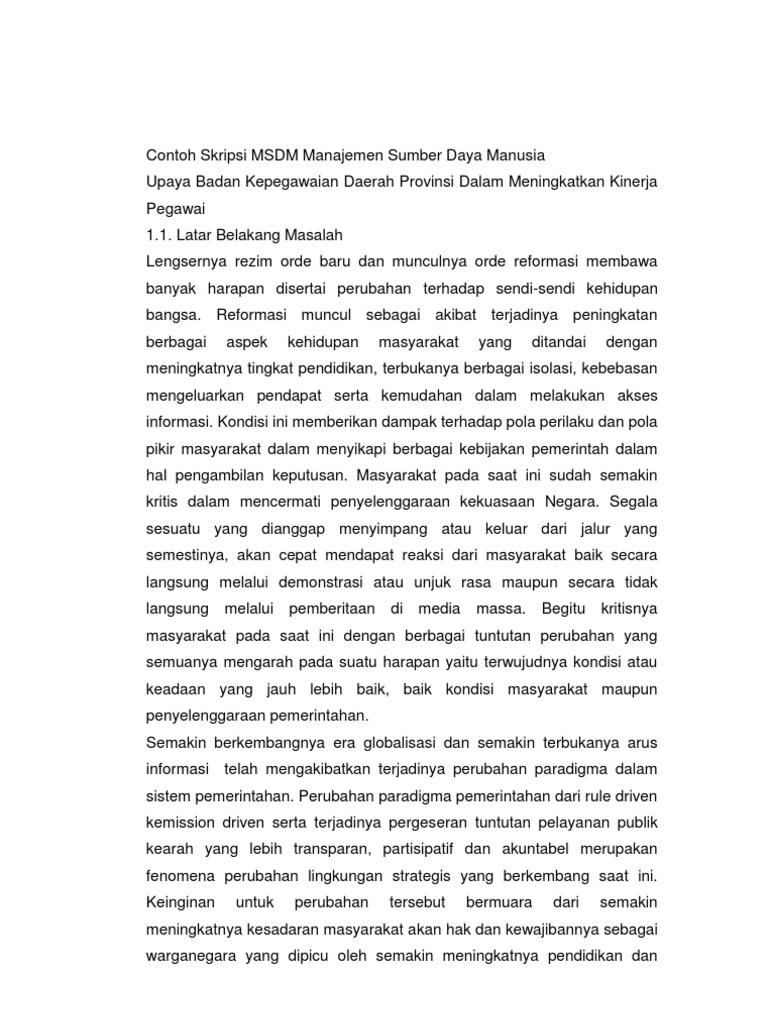Contoh Jurnal Skripsi Manajemen Sumber Daya Manusia - Wo ...