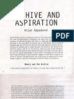 Appadurai - Archive and Aspiration