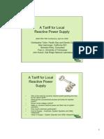 A Tariff for LocalReactivePower