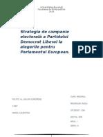 Definirea unei strategii de campanie electorală a unui partid politic care participă la alegerile pentru Parlamentul European