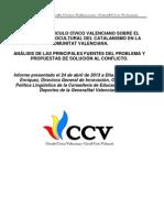 INFORME DE CÍRCULO CÍVICO VALENCIANO SOBRE EL PROBLEMA SOCIOCULTURAL DEL CATALANISMO EN LA COMUNITAT VALENCIANA
