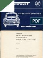 Trabant 601(S) üzemeltetési útmutató