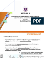 Lecture 3@ Formulation of Research Problem, LR and Research Proposal