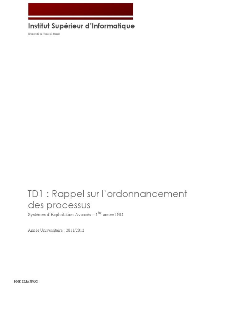 Td1 Correction Ordonnancement Dans Les Systemes D Exploitation Thread Informatique
