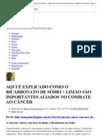 BICARBONATO DE SÓDIO + LIMÃO