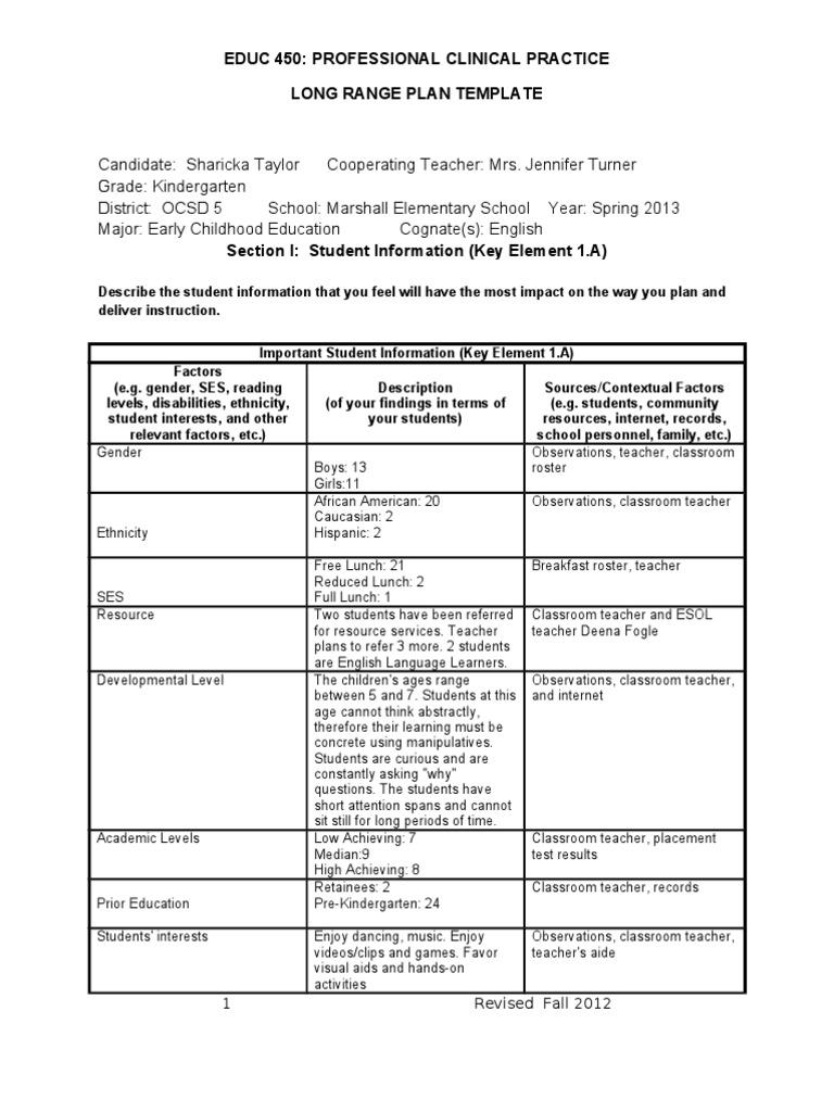 Sharicka-Long Range Plan | Syllable | Educational Assessment