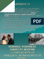 ROMANUL ROMÂNESC SUBIECTIV MODERN