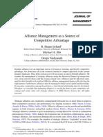 Alliance Management as a Source of Competitive Advantage, By Ireland Et Al, 2002