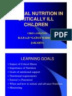 Enteral Nutrition in Critically Ill Children