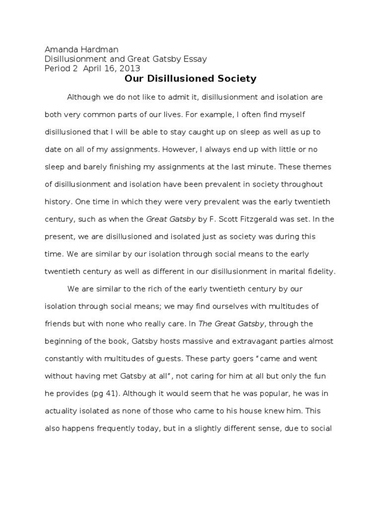 Larsengreat Gatsby Essay  The Great Gatsby  Infidelity