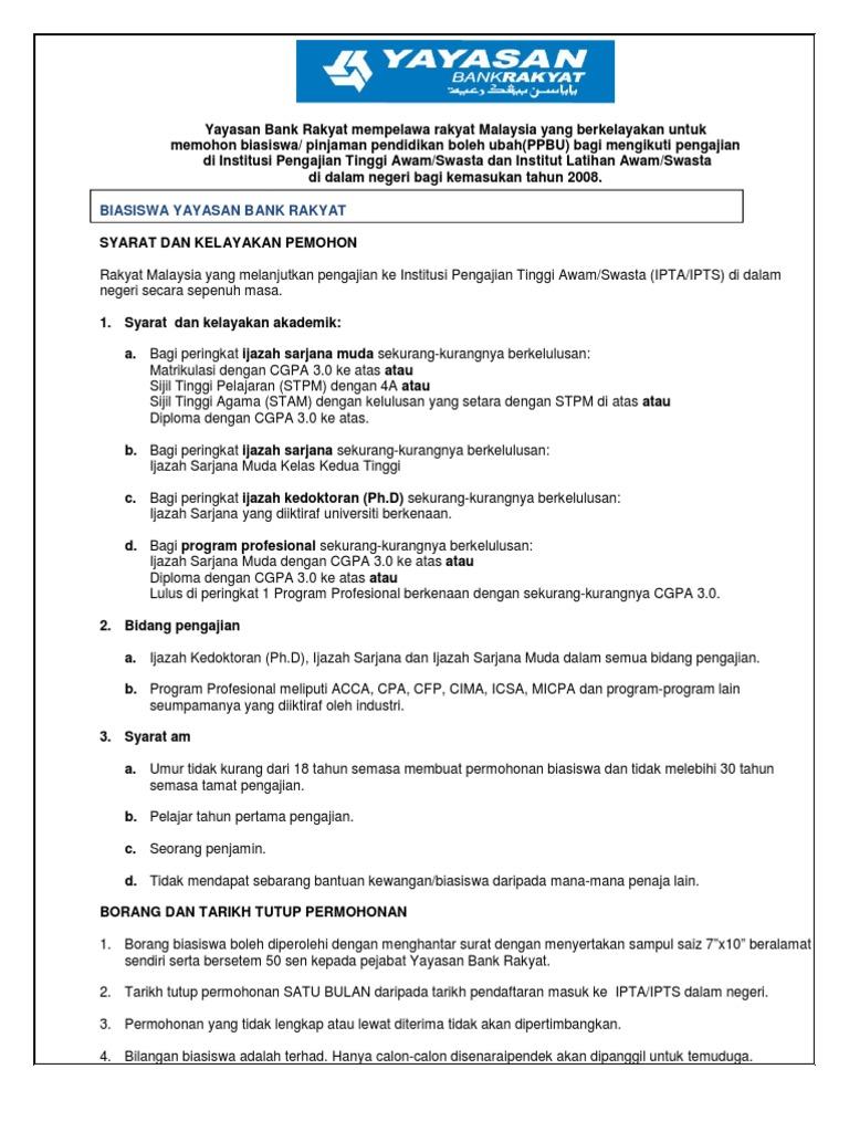 Borang Jaminan Iklan Yayasan Bank Rakyat