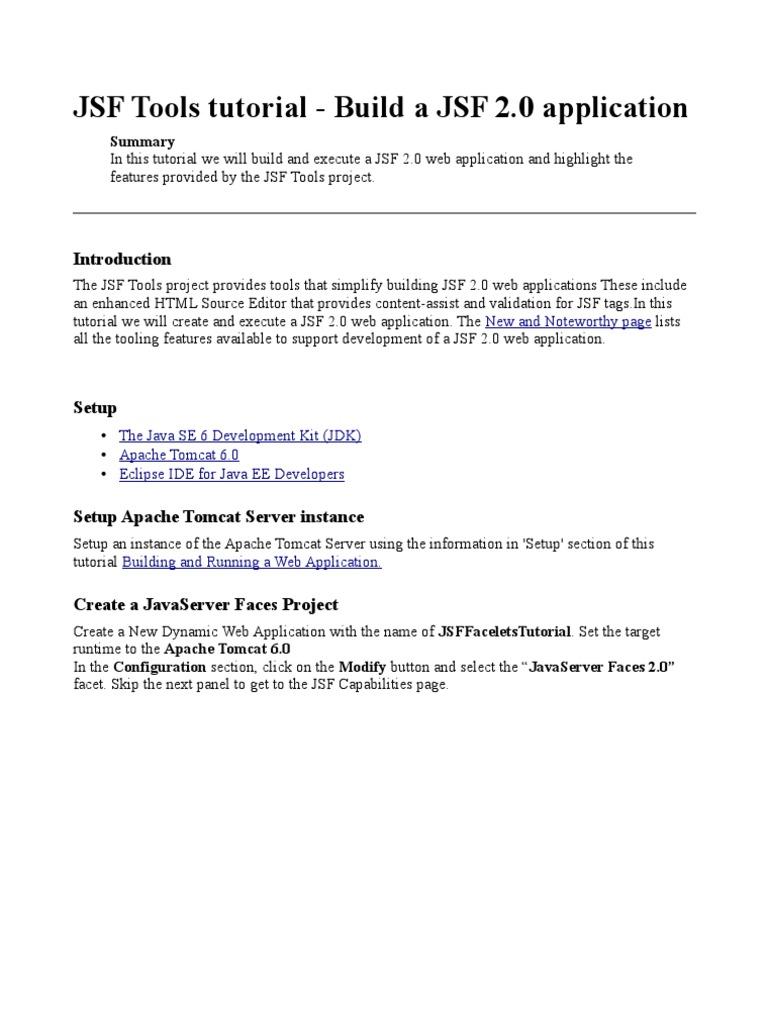 Jsf 20 tutorial eclipse java server faces xhtml baditri Images