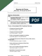 Resumen de Prensa CEU-UCH 24-04-2013