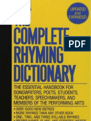 The Complete Rhyming Dictionary Includes Cover   Metre