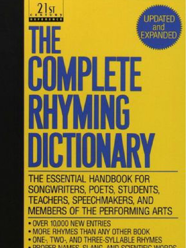 The Complete Rhyming Dictionary Includes Cover   Metre (Poetry)   Poetry 8f1016c1dd19